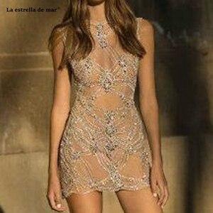 Image 1 - Vestido corto femenino de encaje con espalda descubierta para verano, minivestido sexy para mujer, con espalda descubierta, color champán, sukienka koktajlowa, 2021