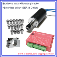 Brushless Spindle 250W 53Ncm 12000rpm DC24V 42mm Motor + Drive + Clamp & 15pcs ER11 Collets Match MACH3 for Metal Wood PVC