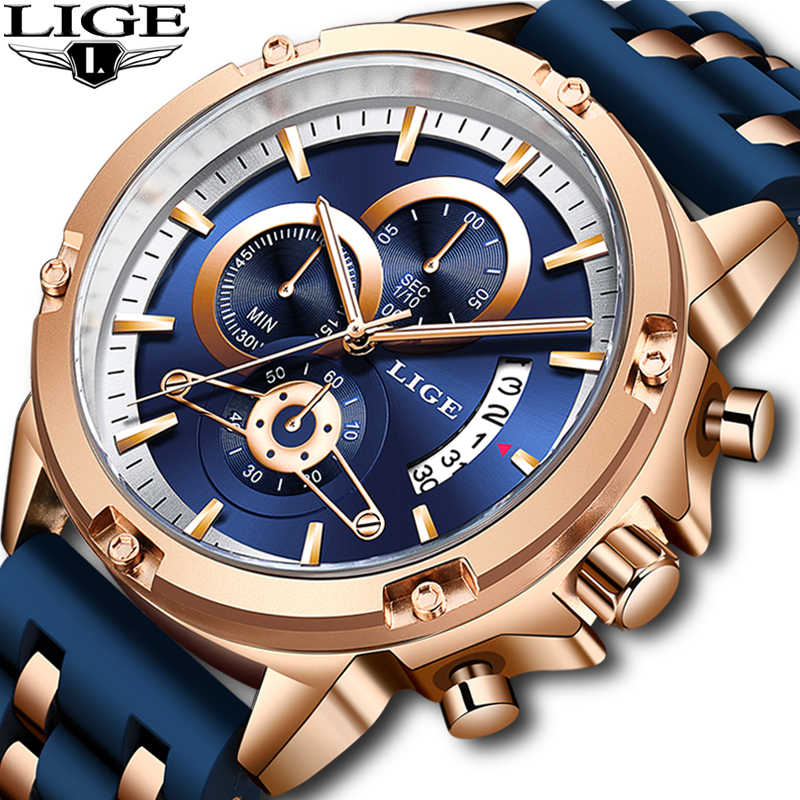 Lige 2020 メンズ腕時計トップブランドの高級メンズ軍事スポーツ腕時計シリカゲルクォーツ時計 erkek saat レロジオ masculino + ギフト