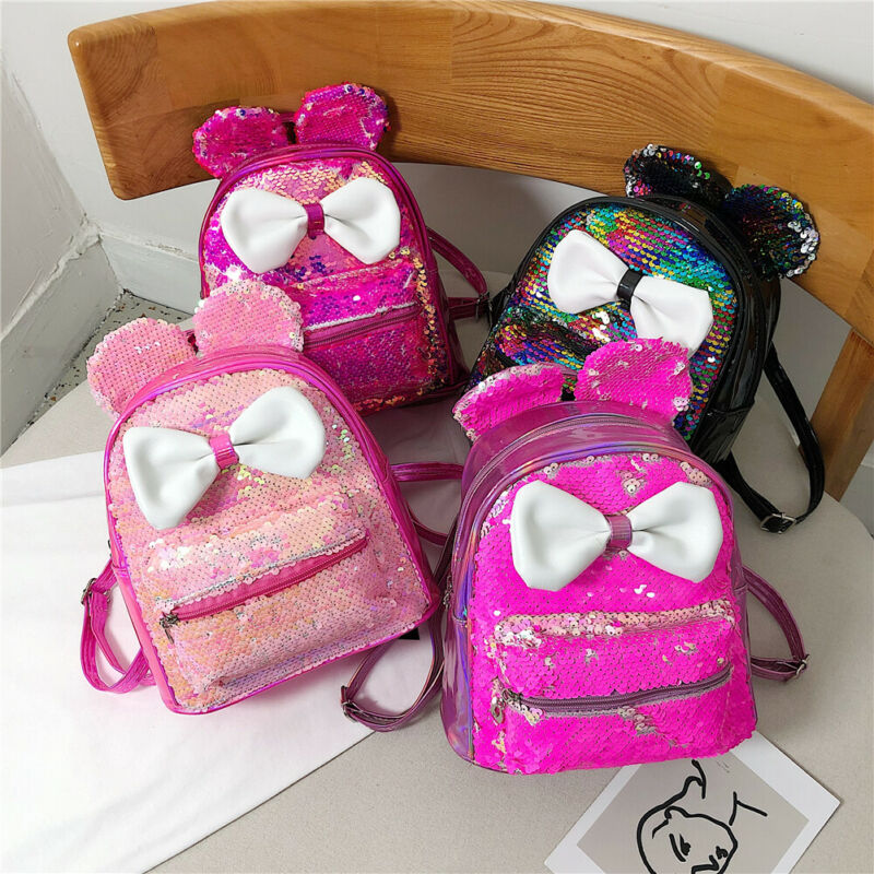 Glitter Women Sequins Backpack Cute Ears Double Shoulder Bag Mini Bling Backpacks Children Girls Sequined Travel Knapsack
