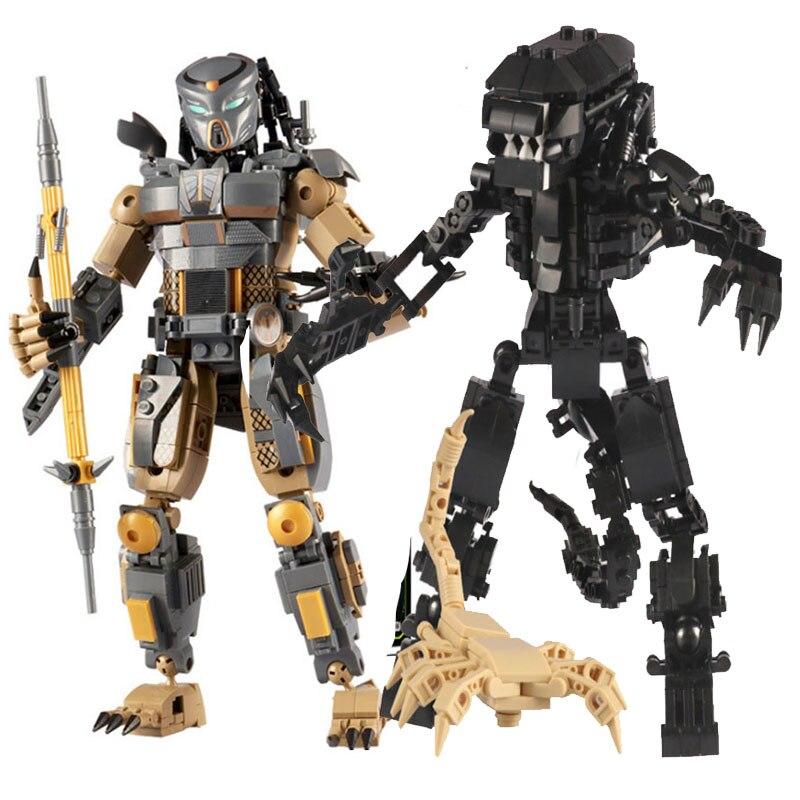 Avp aliens vs predator série horror spieces helicóptero veículo blindado ação blocos de construção tijolos figuras brinquedos