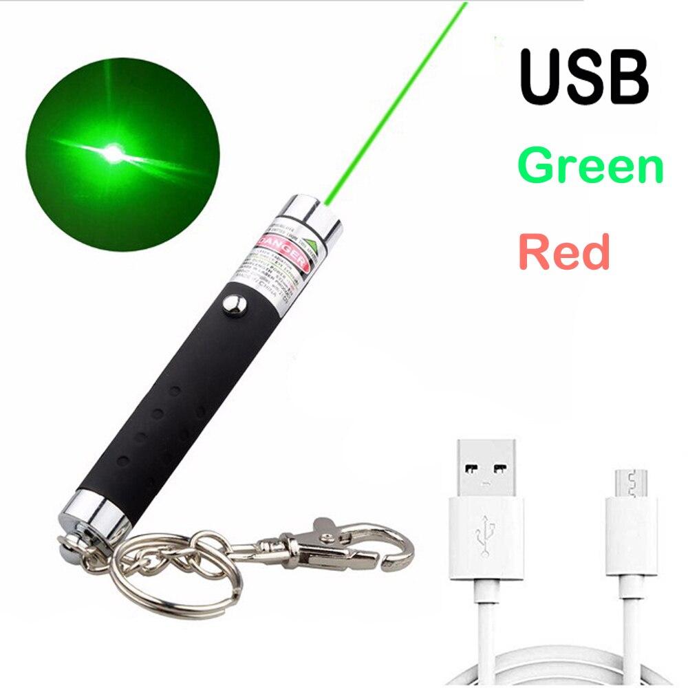 Высокая мощность USB Зеленая красная лазерная указка 711 5 мВт 532 нм непрерывная линия Лазерный диапазон зеленая охотничья лазерная ручка