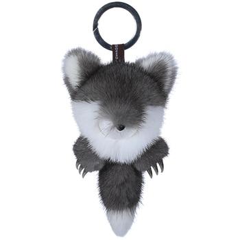 Luxury mink fur fox fur pendant with vivid metal steel claw Fox doll bag pendant  key chain