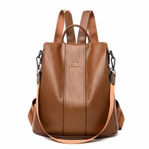 Image 1 - Luxury Backpacks Women Designer 2019 Sac A Dos  Rucksacks For Girls Vintage Bagpack Women Leather Backpack Ladies Casual Daypack
