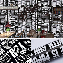 Black White Letters Self-Adhesive Wallpaper for Living Room Bedroom Wall Decor DIY Sticker Drawer Bookcase PVC Contact Paper 10M