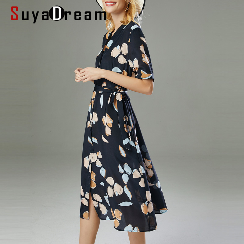 SuyaDream Woman Floral Beach Dress 100%Silk V Neck Elegant Shirt Dress Women 2020 Summer Sash Midi Dresses Silk Clothes Vestidos