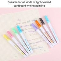 8/12 Color Gift Card Writing Drawing Double Line Outline Pen 2 line Color Pen Set for Children LHB99|Highlighters|   -