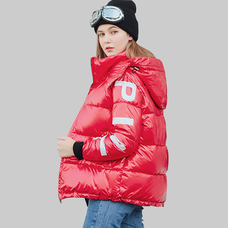 Big Size Women Winter   Parka   Letter Harajuku Women's Park Thicken Warm Women's Down Jacket With A Hood 2019 Women's   Parka   Coat
