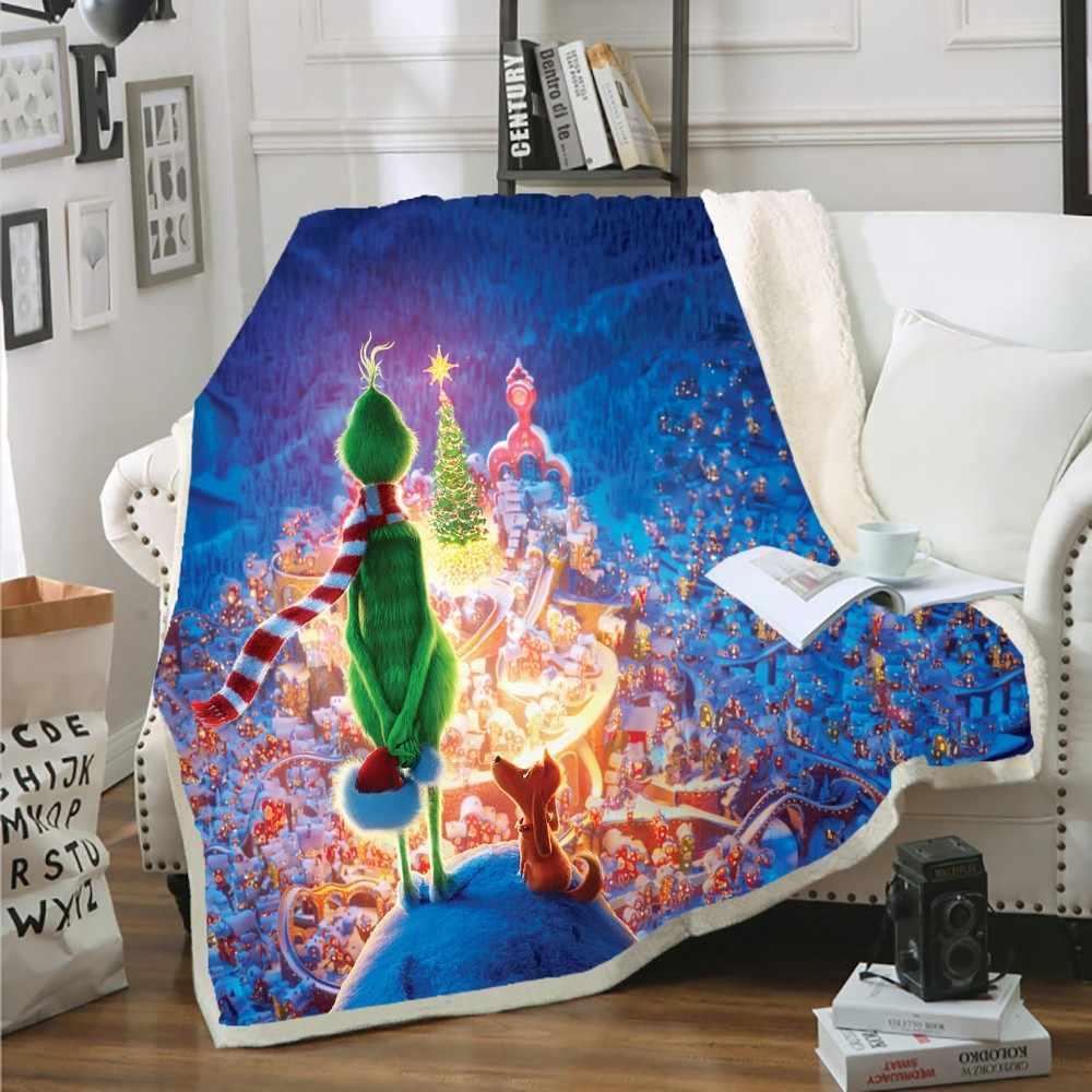 Шерпа коралловый флисовый плед Рождество ЕВА Зеленый Монстр Собака стояло мягкое уютное одеяло с рукавами Дети покрывало для кровати или дивана декоративные