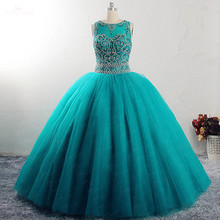 RSE922 Yiaibridal Real Crystal Beaded Ball Gown Keyhole Back Vestido De 15 Anos Turquoise Quinceanera Dresses