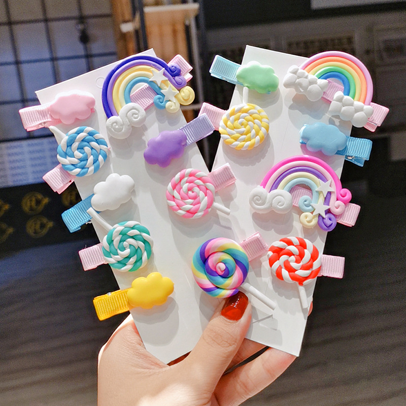 2020 New Rainbow Lollipop Cute Children Hairpin Hair Clips Accessories For Girls Kids Hair Ornament Barrettes Hairclip Headdress