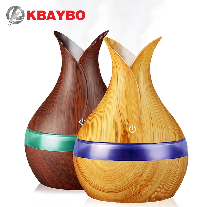 KBAYBO 300ml USB Aroma Air Humidifier Essential Oil Diffuser Strong Mist Maker Wood Grain With 7 Colors LED Night Light For Home