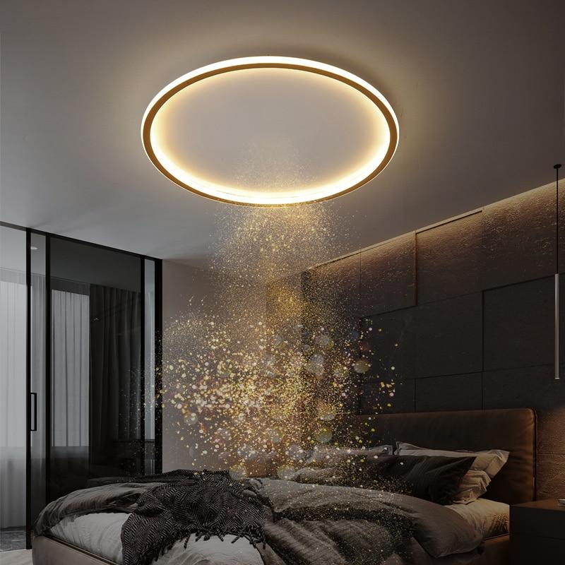 Современная светодиодная потолочная лампа для спальни, кабинета, столовой, кухни, Минималистичная ультратонкая круглая кровельная люстра, ...