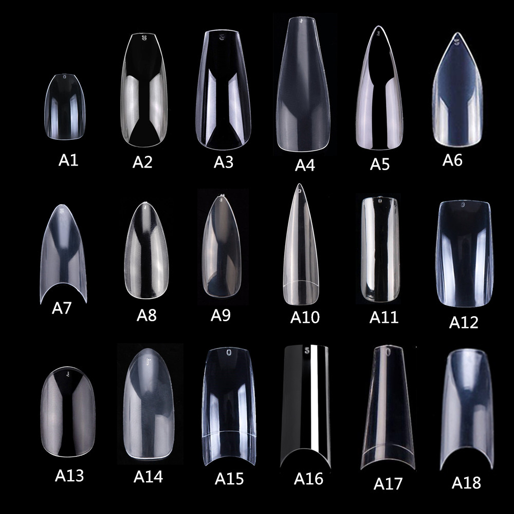 Makartt 500pcs Coffin Fake Nail  Tips Clear Natural Nails Tips Full Cover False Acrylic Nails Ballerina Nails Press On Nails