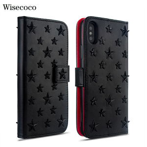 Image 1 - Luxury Handmade Leather Case for Iphone 11 Pro Xs MAX XR X 8 7 Plus Fundas Stars Rivet Wallet Card Holder Flip Book Cover Hoesje