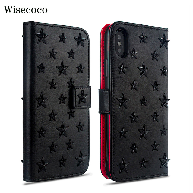 Luxury Handmade Leather Case for Iphone 11 Pro Xs MAX XR X 8 7 Plus Fundas Stars Rivet Wallet Card Holder Flip Book Cover Hoesje