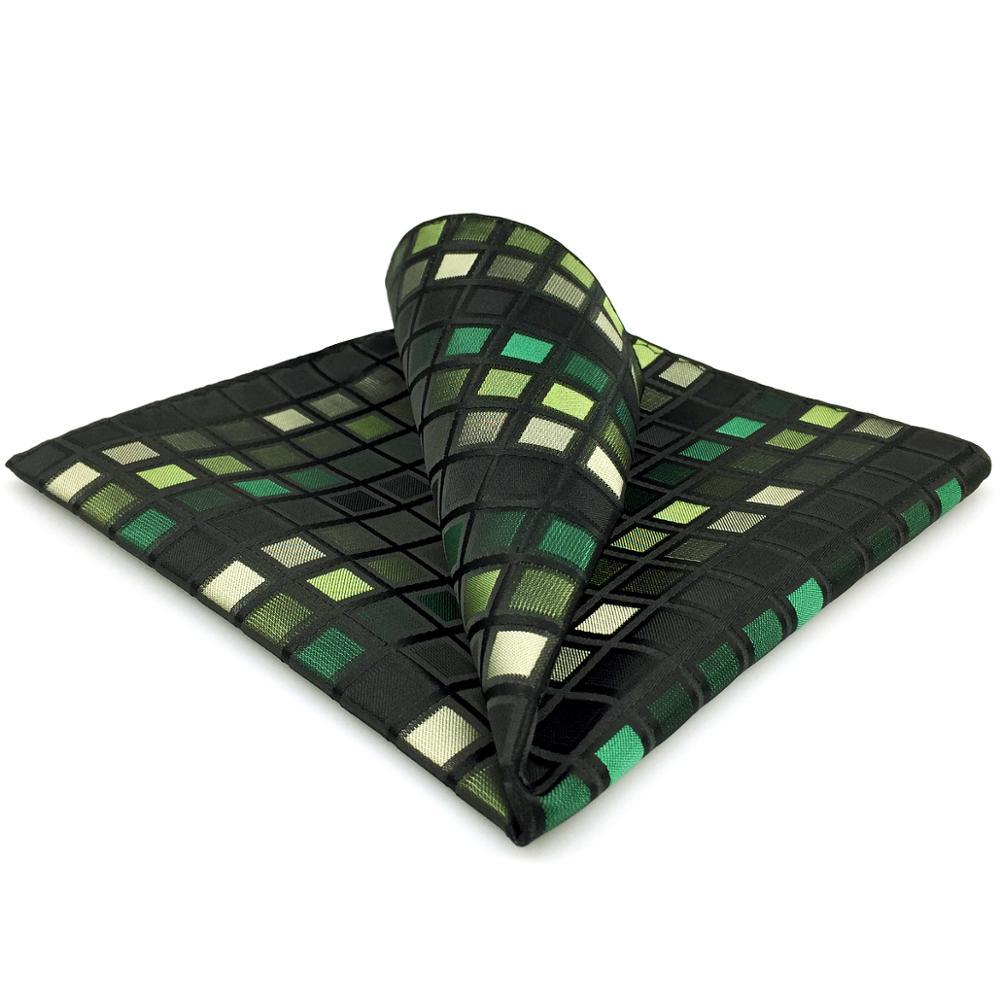 CH2 Green Black Silk Pocket Square For Men Classic Checkes Handkerchief