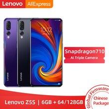 Lenovo Z5s Snapdragon 710 с глобальной прошивкой, четыре ядра, 6 ГБ, 64 ГБ, смартфон Face ID 6,3 AI, тройная задняя камера, Android P, мобильный телефон