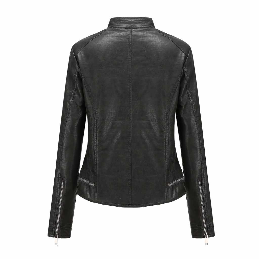 Abrigos de Mujer Chaquetas de moda abrigo corto de mujer chaqueta de cuero Parka con cremallera