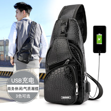 Men Chest Bag Leather Waterproof With USB Charging Casual Messenger Shoulder Bag For Male Crossbody Bag Waist Pack frn new usb charging chest pack men casual shoulder crossbody bag chest bag water repellent travel messenger bag male sling bag