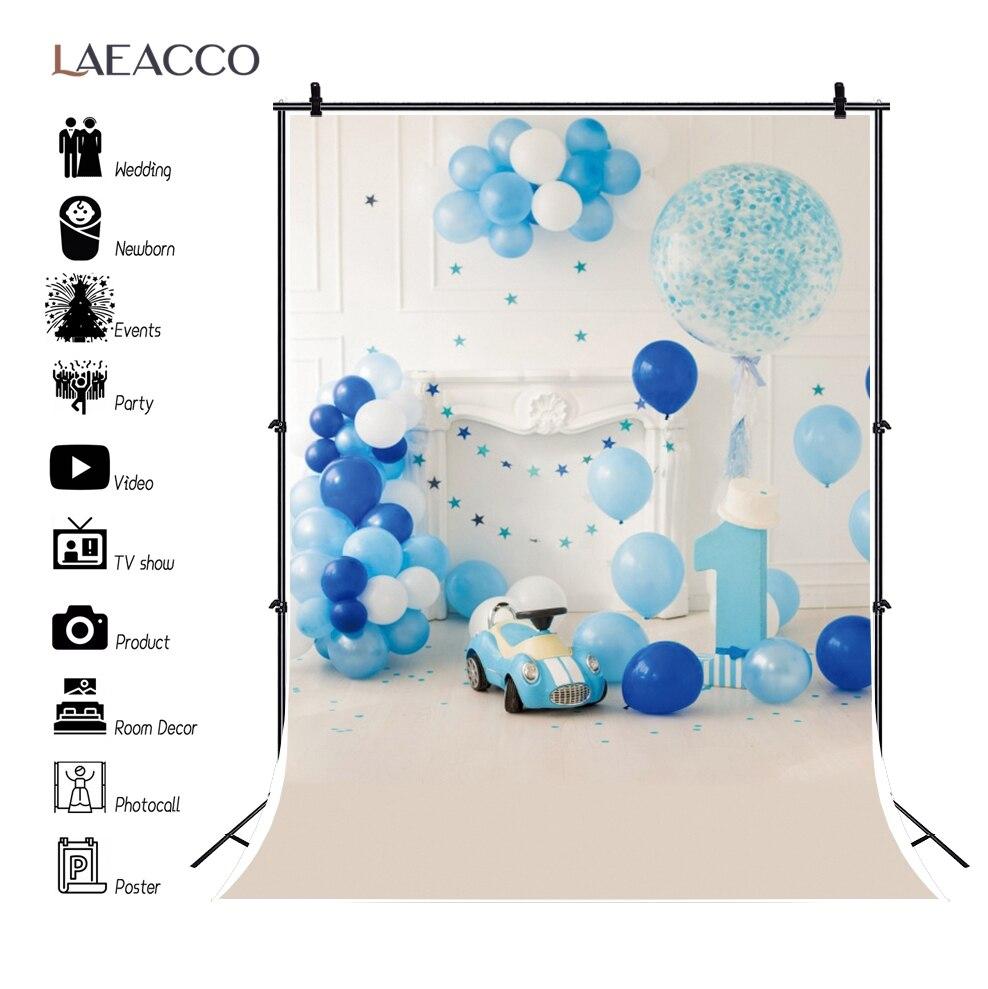 Laeacco белый шикарный настенный фон с воздушными шарами для первого дня рождения ребенка камин игрушки автомобиль ребенок портрет фотография...