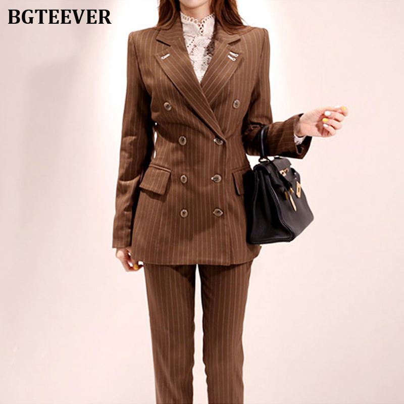 Fashion Double-breasted Striped Women Pant Suit Elegant Slim Women Blazer Suit Set Female Workwear Trouser Suit 2019 Autumn