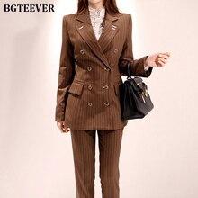 Fashion Double-breasted Striped Women Pant Suit Elegant Slim Women Blazer