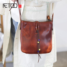 AETOO Teenage stiletto bag, trend leather vintage small square hand-made shoulder bag