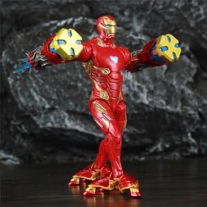 """Image 1 - Оригинальный ML Legends Мститель Железный мужской MK50 светодиодный 6 """"фигурку нано оружие молоток костюм SHF 10TH Thanos Dr stranna 3P игрушки куклы"""