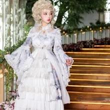 kawaii girl gothic lolita cos Princess tea party sweet lolita dress retro lace flare sleeve printing dress