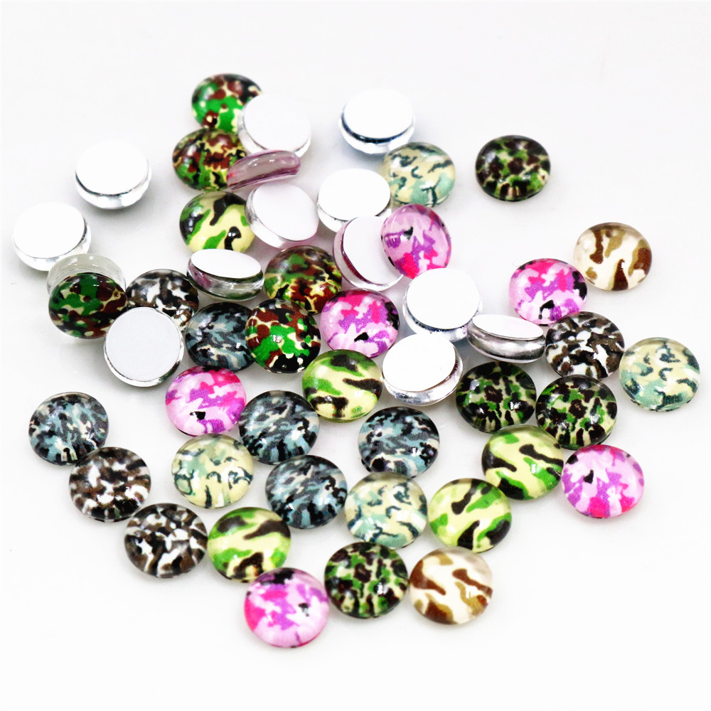 Hot Sale 50pcs 8mm 10mm Mix Colors Camouflage Mixed Handmade Glass Cabochons Pattern Domed Jewelry Accessories Supplies