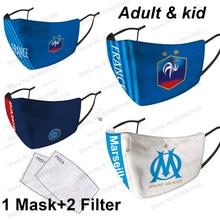 Reusável clube de futebol máscara facial para olympique de marselha com 5ply pm2.5 filtro protetor de futebol anti poeira higiene máscaras boca