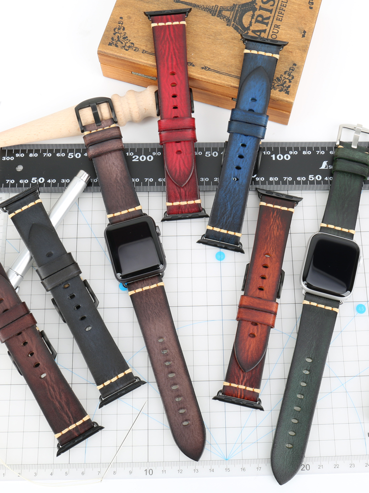 Handmade Cow Leather Watch Strap Replacement For Apple Watch Band 44mm 40mm 42mm 38mm