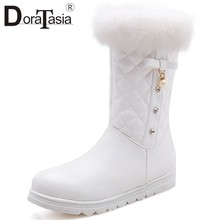DORATASIA Größe 28-40 Frauen Schnee Stiefel Damen Pelz Stiefel Mode Bowtie Dekoration Schuhe Frau Casual Winter Warme Mid kalb Stiefel(China)