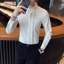 British Style Spring New 2021 Men Tuxedo Shirt Long Sleeve Fashion Simple Front Folds Design Slim Fit Casual Dress Blouse Homme