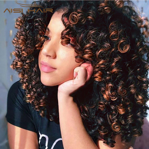 AISI HAIR 14inches Afro kinky Curly Wig Ombre Black Brown Wig With Bangs Short Synthetic Wigs for Black Women