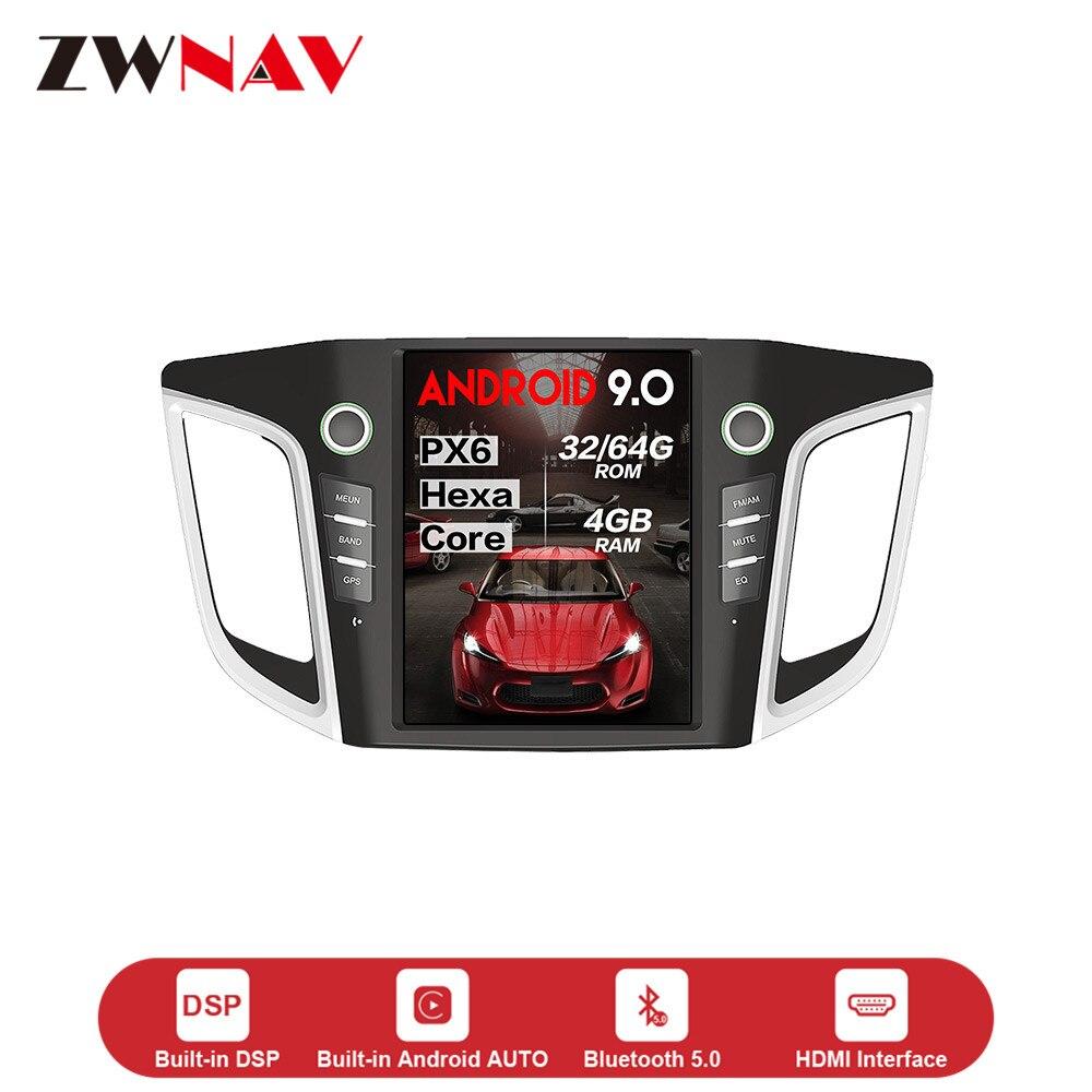 Construit dans DSPS carplay écran vertical Tesla style Android 9.0 lecteur multimédia de voiture pour HYUNDAI IX25/CRETA 2014 2015 2016 2017 2018 Navigation GPS voiture stéréo audio radio magnétophone unité de tête