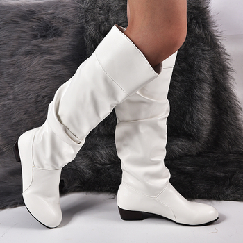 2020 Fashion Shoes Women's Knee-High Boots Winter Boots High Tube Flat Heels Riding Boots Outside White Shoes image