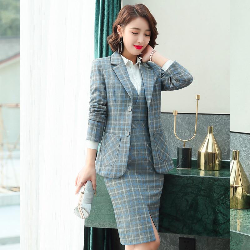 Formal Plaid Dress Blazer Women Dresses with Jacket Women's Dress Suit Set Office Wear Work for Ladies Evening Elegant Costumes