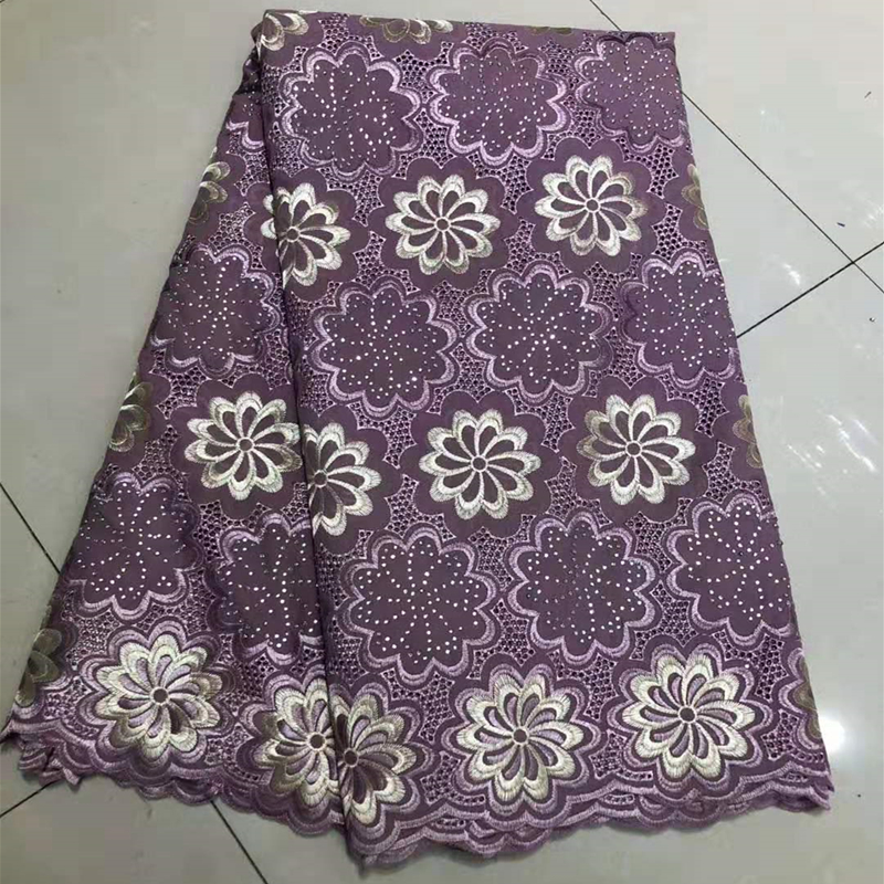 New Design Breathable African Nigerian George Guipure Lace Fabric With Stones Embroidered Hollow Out Wax Lace Fabric For Sewing