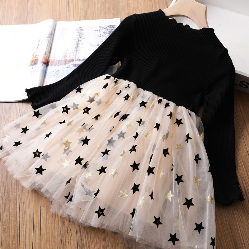 Girls Winter Dress for Kids Long Sleeve Star Sequined Princess Dresses 3 6 8 Years Old Children Cotton Knitted Autumn Clothes 3