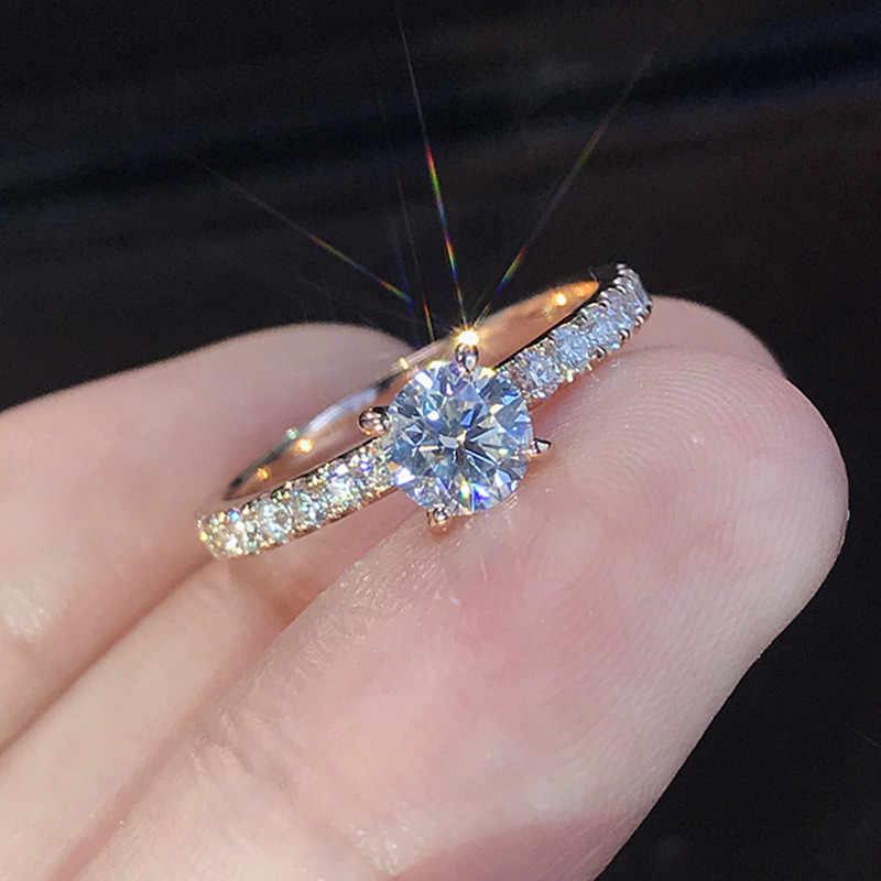 Wukalo 925 Zilveren Sieraden 1.5ct Aaa Zirkoon Engagement Ringen Vrouwelijke Rose Goud Kleur Crystal Trouwringen Voor Vrouw