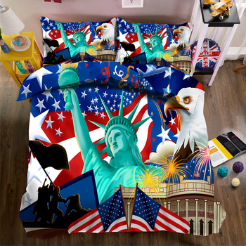 American Statue of Liberty print Bedding Duvet Cover set UK Big Ben Pattern Soft Fabric Bed Comforter sets 3pcs Double Bedding