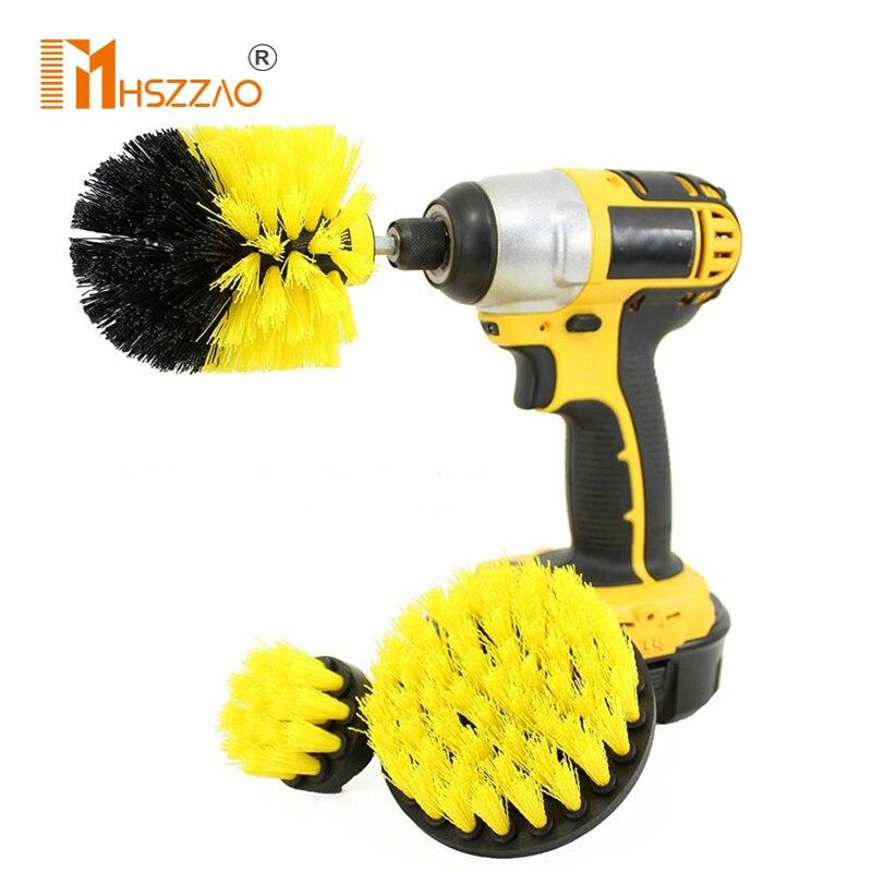 3Pcs Electric Scrubber Brush Drill Brush Kit Plastic Round Cleaning Brush For Carpet Glass 2/3.5/4'' Car Tires Nylon Brushes
