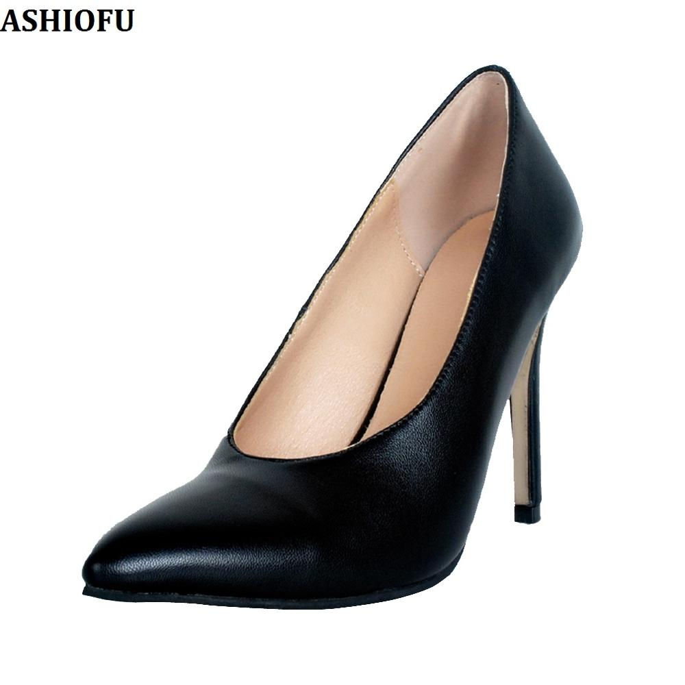 ASHIOFU Handmade Ladies High Heel Pumps Real Photos Party Prom Dress Shoes Slip-on Daily Wear Fashion Casual Court Shoes