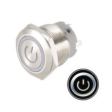 uxcell Latching Metal Push Button Switch 22mm Mounting 1NO 12V White LED Light(China)