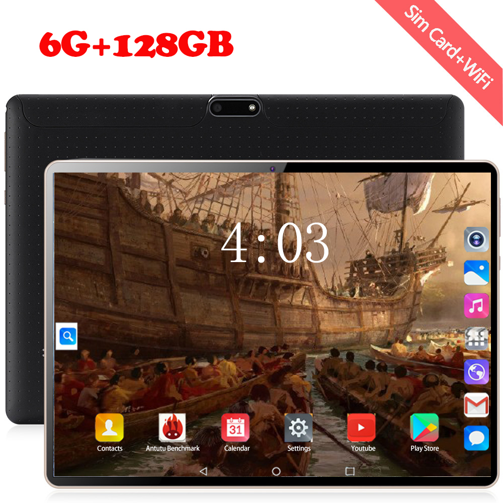 2020 MTK 6797 10.1 Inch Tablets Android 8.0 Deca Core 128GB ROM Dual Camera 8MP Dual SIM Tablet PC 1920X1200 GPS Bluetooth Phone
