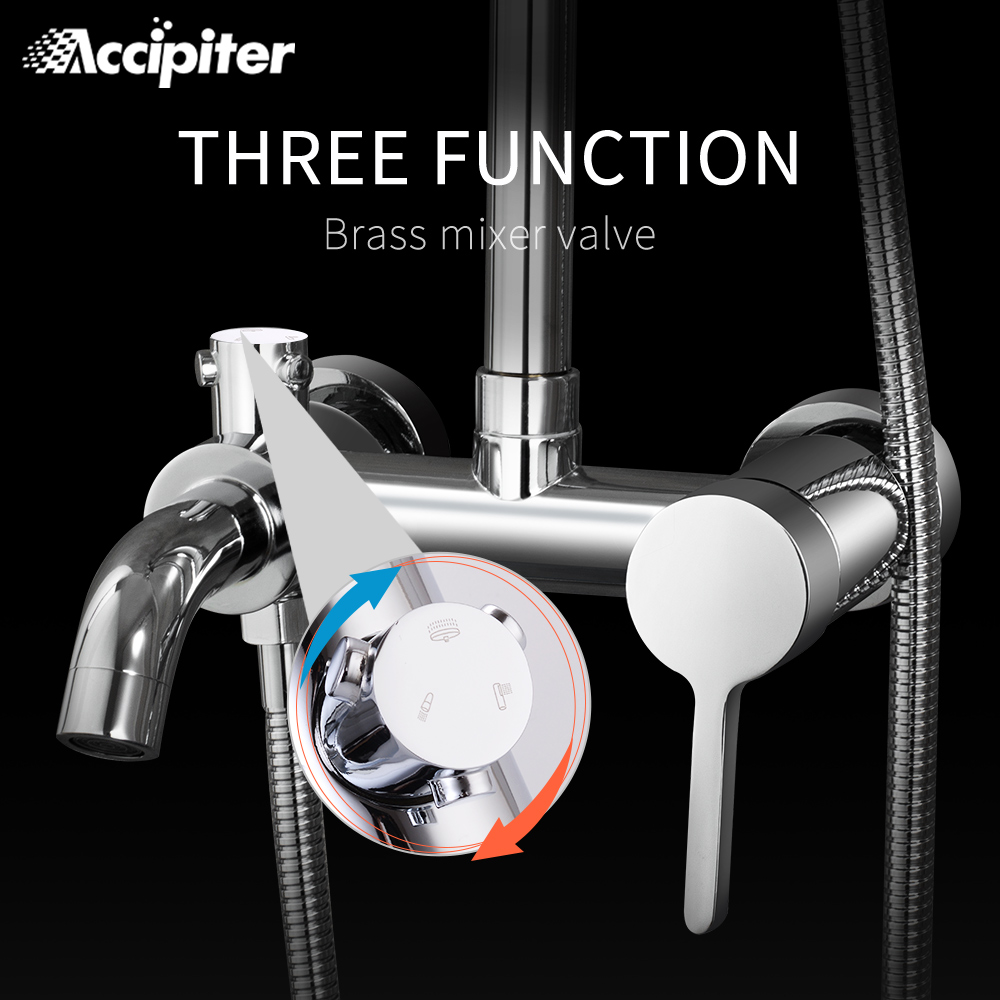 Bathroom Shower Mixer Wall-mounted Thermostat Shower Faucet 3 Function Water Setting Chrome Bath&Shower Suite Accessories