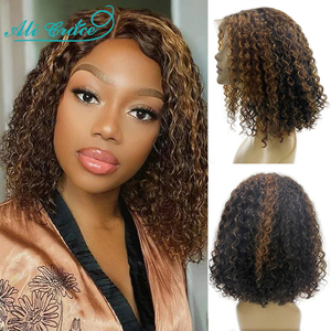 Ali Grace, парик для волос, вьющиеся волосы, 13X4, кружевной передний парик, бразильский цвет Омбре, кудрявые короткие парики для Боба, предварител...