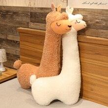 130cm Lovely Alpaca Plush Toy Alpaca Soft Stuffed Dolls Sleep Pillow Home Bed Decor Gift Stuffed Animals  Plush  Kawaii Pillows